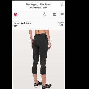 NWT Size 4 LULULEMON Pace Rival Crop